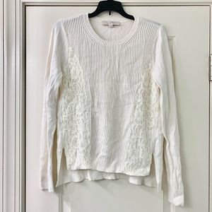 LOFT Cream Lace Long Sleeve Sweater Size Medium